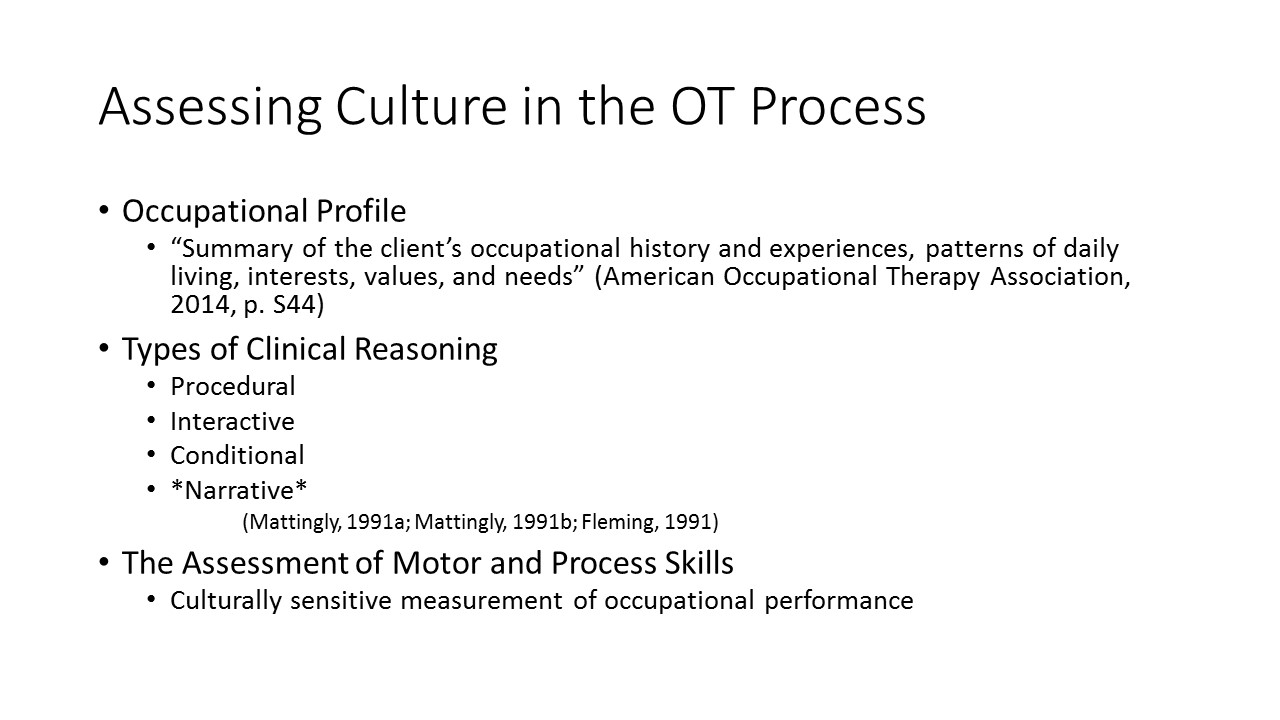 cultural implications in occupational therapy assessment and sean